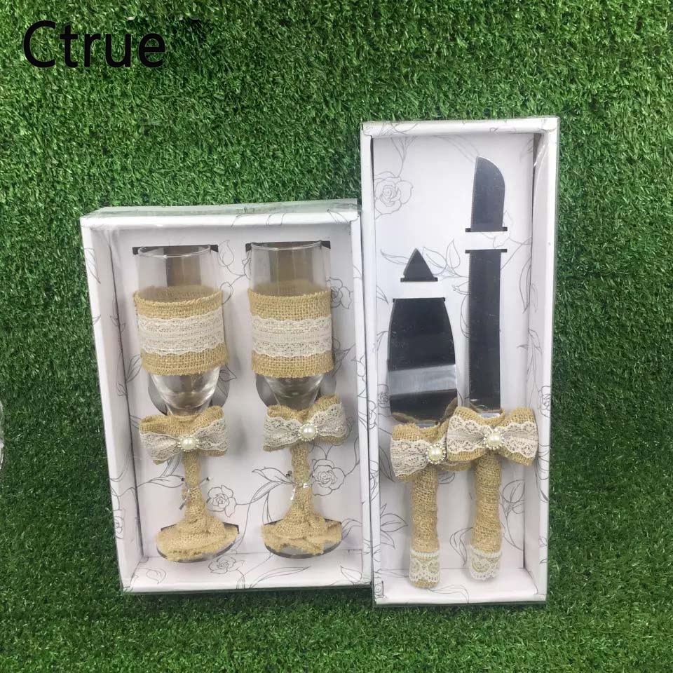 1Set Wine Cup Champagne Glasses Wedding Cake Knife and Server Set Wedding Decoration Mariage Wedding Favors Gifts