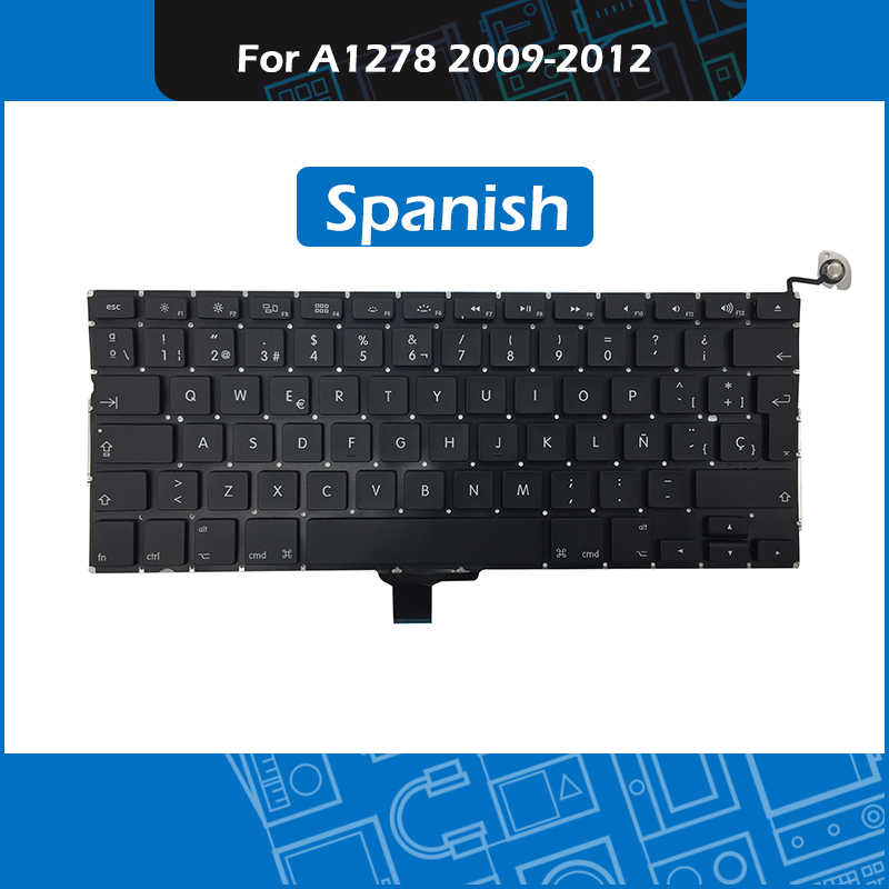 10pcs Lot Laptop Replacement Keyboard ES Spanish Layout for Macbook Pro 13 Unibody A1278 Spain Keyboard