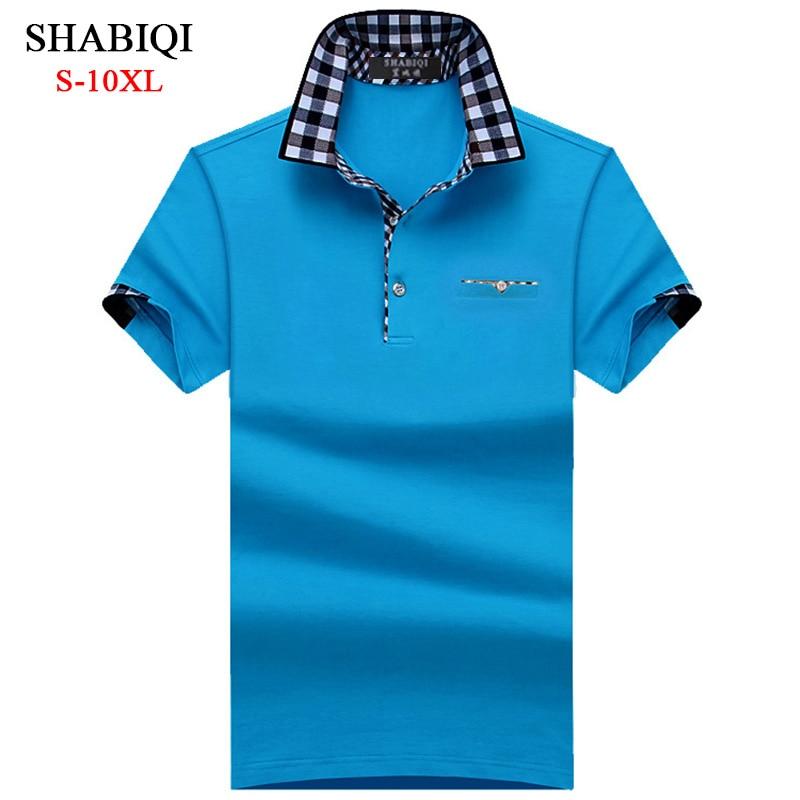 SHABIQI BIG MAN Polo Men Shirt Mens Short Sleeve Solid Shirts Camisa Polos Masculina Casual Cotton Plus Size 6XL 7XL 8XL 10XL