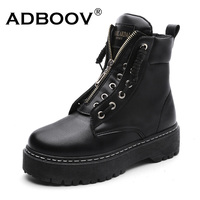 ADBOOV Zip Flat Ankle Boots Women PU Leather Motorcycle Boots Platform Martens Boots Fall Winter Shoes Woman Booties