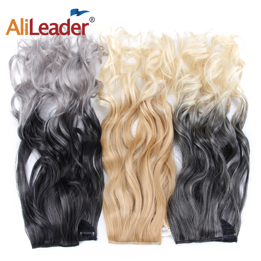 Alileader Fake Clip In Hair Extensions Woman Fake Hair Body Wave Secret Extensions Ombre Clip Ins Black Red Gray Kanekalon Hair Quell Summer Thirst Synthetic Extensions