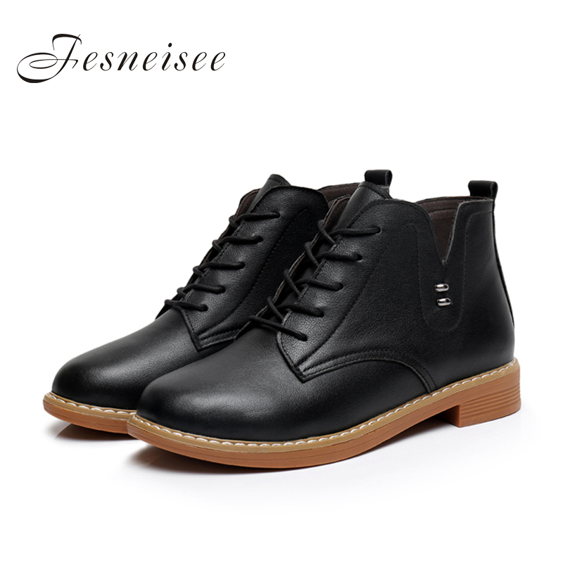 2017 New Genuine Leather Women Boots Square Heel Lace up Soft Cowhide Women's Shoes Handmade Ankle Boots Size34-43 zapatos mujer twisee new lace up ankle boots zapatos mujer women genuine leather boots vintage style flat booties round toe women s shoes