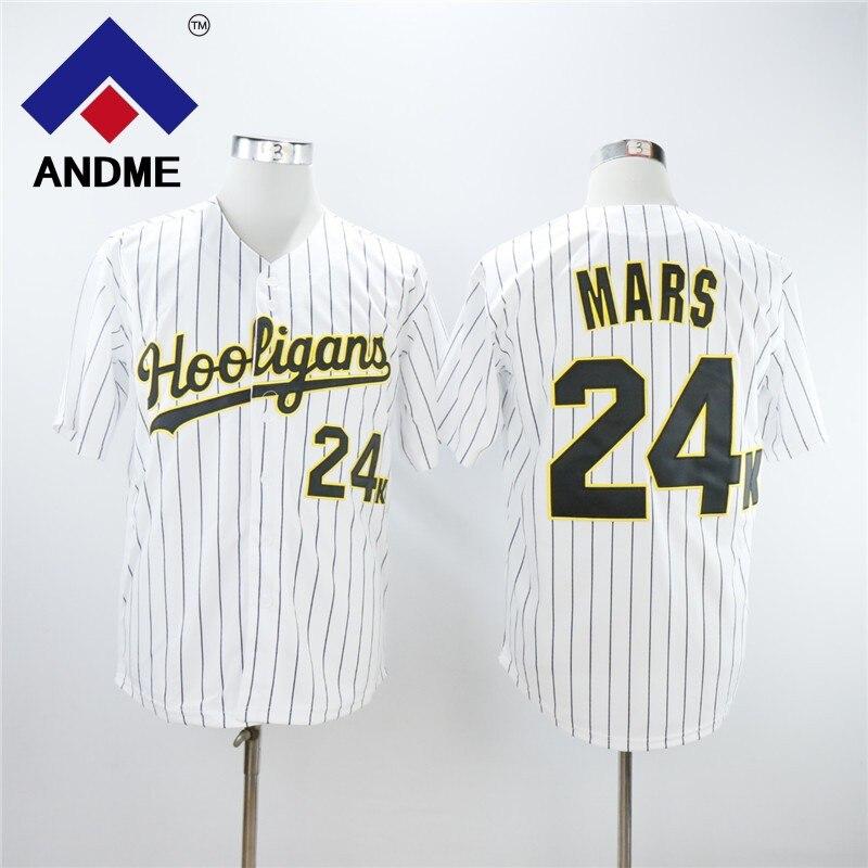 Bruno Mars 24K Hooligans BET Awards Baseball Jersey Stitched Throwback Baseball Jerseys Free Shipping Black White Pinstriped