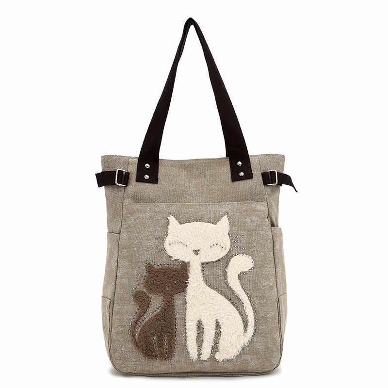 56fb7d14482e 2018 new women s handbag ladies shoulder bags canvas bag cute cat Appliques  portable Handbags