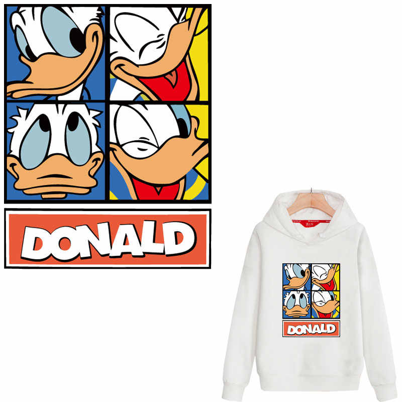 large patch new cute donald duck iron on patchs for clothing heat transfert thermocollants t-shirt clothes stickers parches ropa