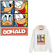 large patch new cute donald duck iron on patchs for clothing heat transfert thermocollants t-shirt clothes stickers parches ropa donald weis t t solo rules