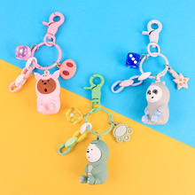 4.5cm 2019 new cute cartoon Key chains metal animal bear jewelry Key chain girl wallet bag creative Key ring silicone ключница new brand key ts48a cartoon key wallet