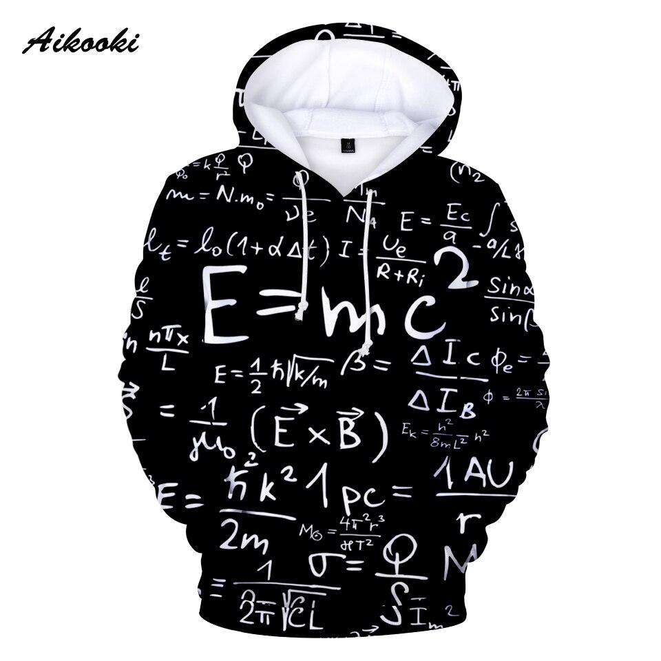 Aikooki New 2018 E=MC2 Fun 3D Hoodies Sweatshirt Men / Women Hoody 3D Full Print Black Design Fashion Winter Polluver 3D Hoodies