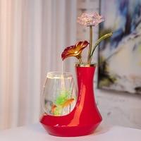 European Style Ceramic Glass Fish Tank Glass Water Fountain Desktop Figurines Miniatures