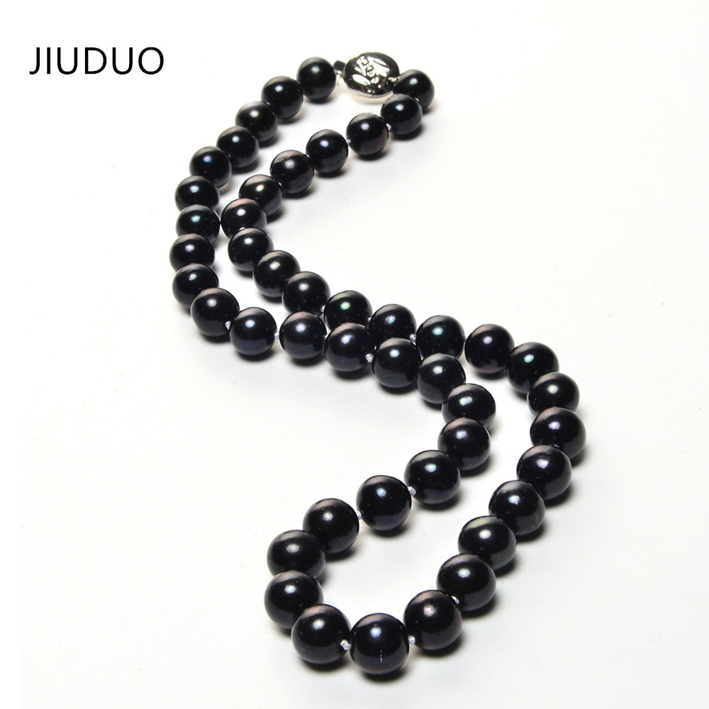цена на Free shipping high-grade natural black freshwater cultured pearl necklace female models classic fashion jewelry manufacturers