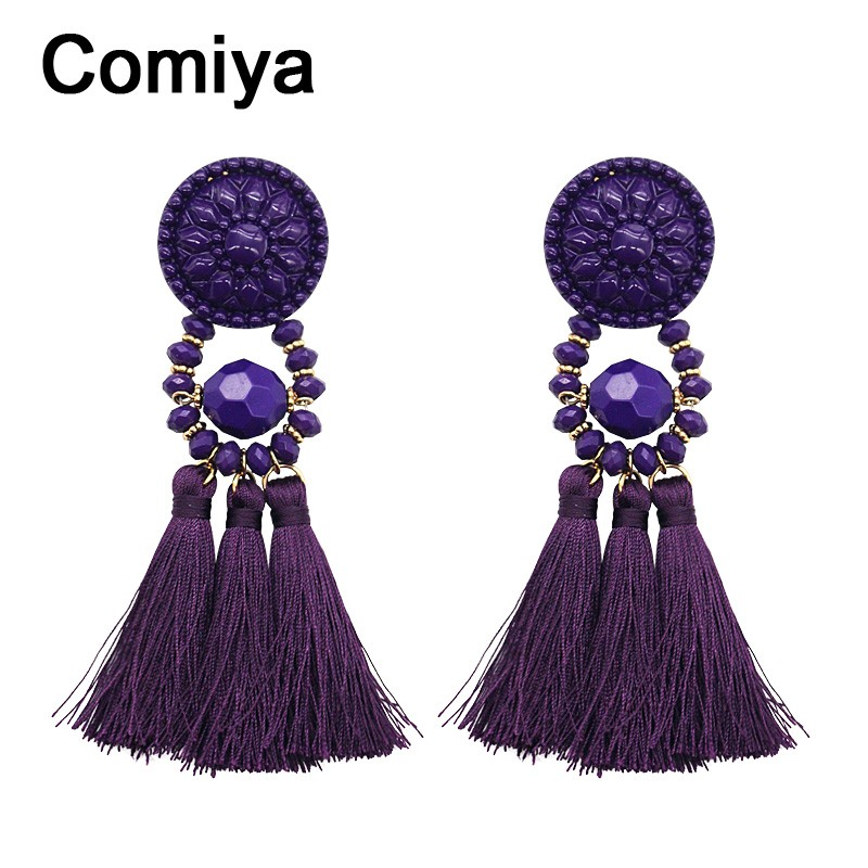Ufashional Purple Tel Statement Earrings For Women Newest Crystal Earring Jewelry Accessories Bohemia Retro Ethnic In Stud From