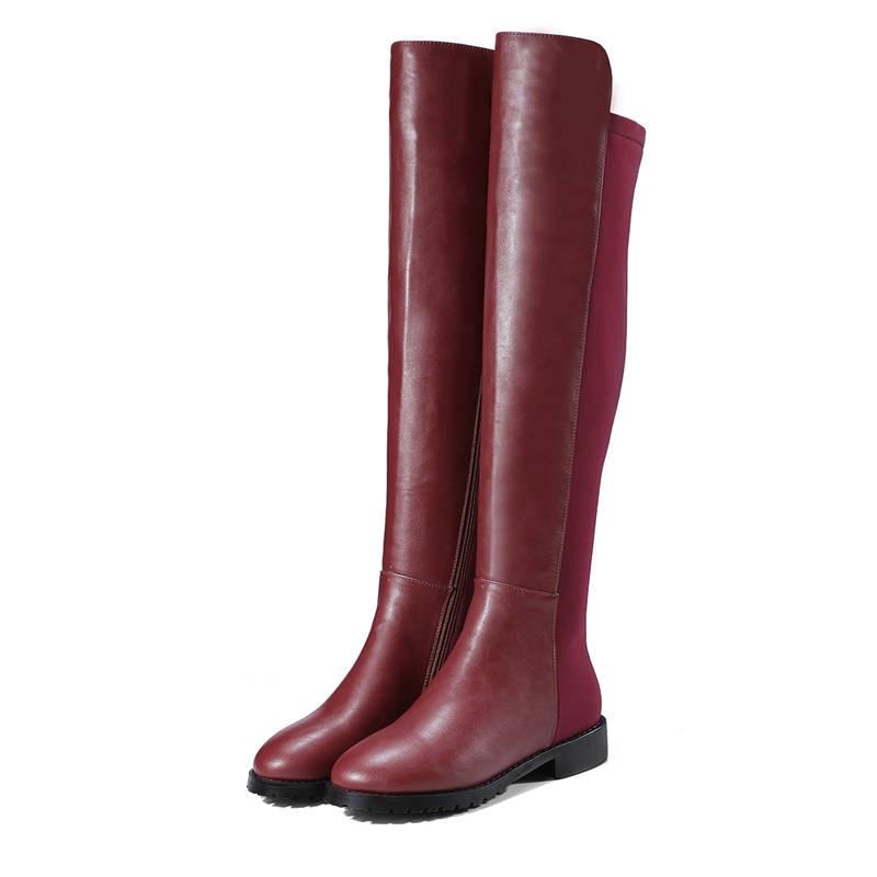 Nueva Negro Punta Largas Red wine Botas Corta Redonda Memunia Talón Bajo Zapatos Mujer Cremallera Altas Moda 2018 Invierno Felpa Otoño Negro UnWnRqS5