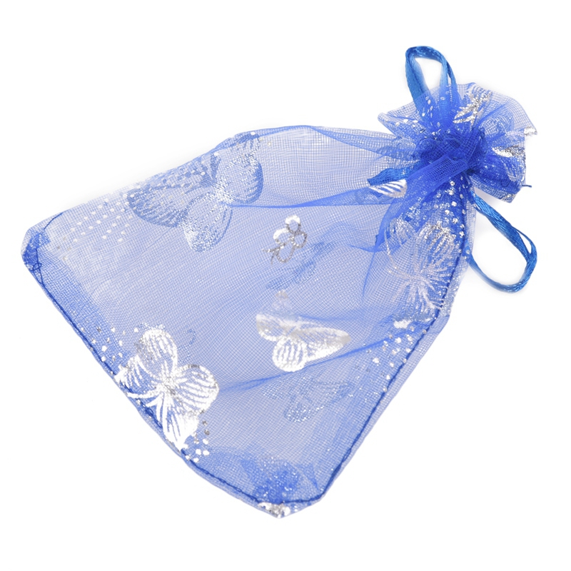 25x Beautiful Butterfly Organza Jewelry Pouch Gift Bag Wedding Christmas Party Favor, 9x12cm (Blue)