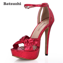 Batzuzhi Sexy 14cm High Heel Women Shoes Peep Toe Red Platform Women Pumps Buckle Strap Red Party/Wedding Heels Shoes,Size 35-43 byqdy wholesale girls spring sexy high heels women platform shoes peep toe pumps autumn wedding shoes women crystal pumps party