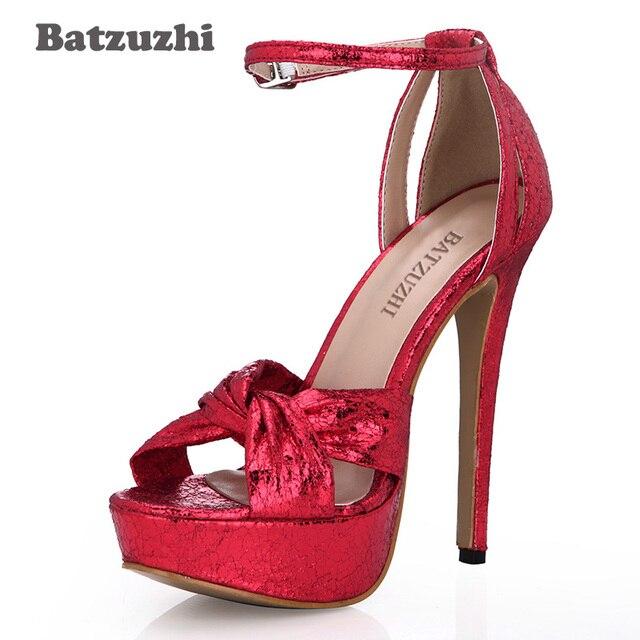 a870b84f8 Batzuzhi Sexy 14cm High Heel Women Shoes Peep Toe Red Platform Women Pumps  Buckle Strap Red Party/Wedding Heels Shoes,Size 35-43