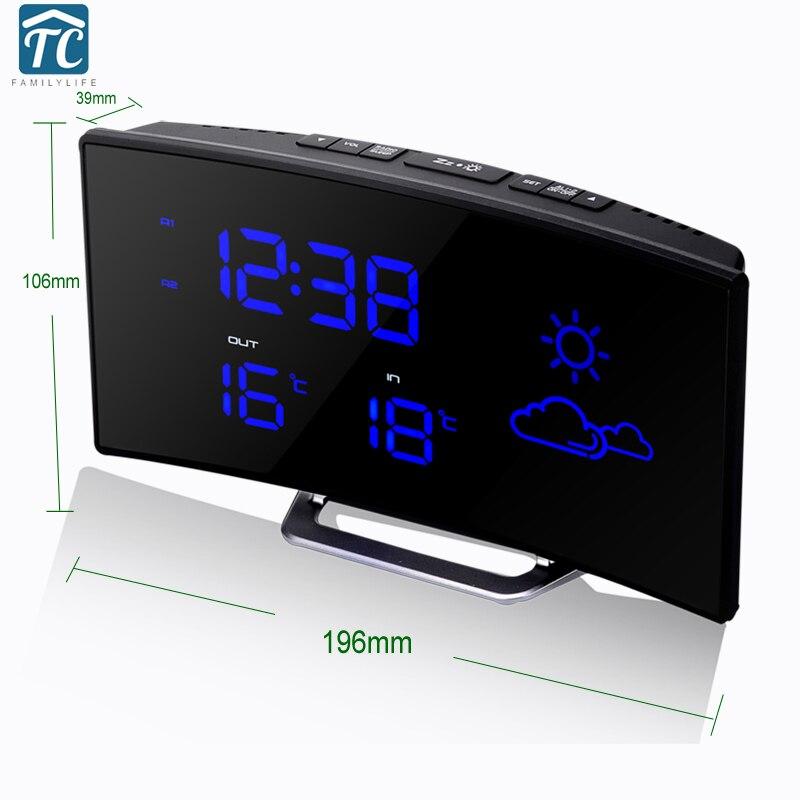 Digital LED Radio Termómetro Escritorio Despertador Pronóstico del - Decoración del hogar