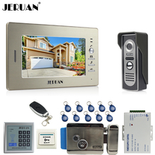 hot deal buy jeruan 7`` color video door phone+700tvl coms camera+access control system+electronic lock+free shipping