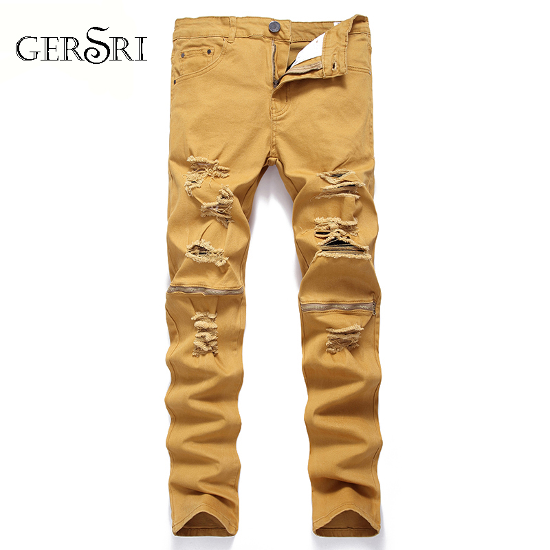 Gersri Men Jeans Biker Ripped Jeans For Men Slim Fit Design Fashion Hip Hop Casual Yellow Knee Hole Denim Pants