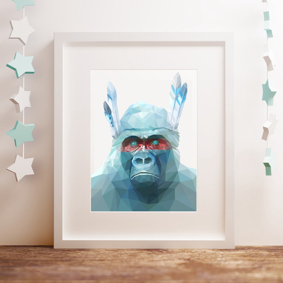 Geometric Gorilla Wall Art Print And Poster , Low Poly Monkey ...