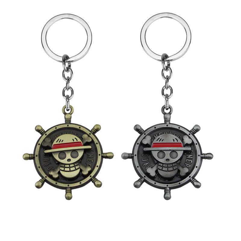 Hot Anime One Piece Sleutelhanger Blauw En Rood Mode Hoed Vorm Auto Charm Key Chain Holder Sleutelhangers Hanger Sieraden Geschenken voor Man