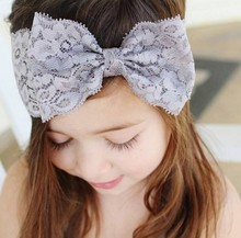 Lovel Elastic Kids Lace Bow Knot Hair Headband Kids Girls Bezel Headwear scrunchy Hair Accessories EASOV W141