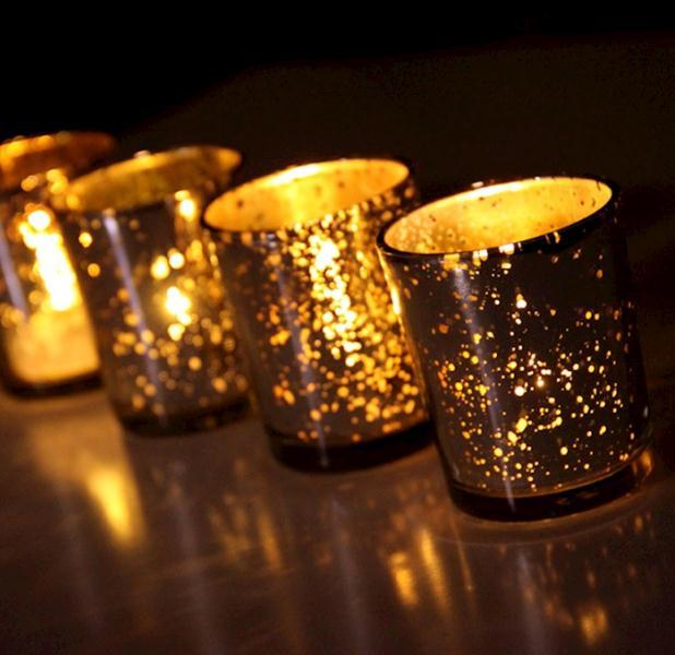 US $360.0  Großhandel Glas Teelichthalter Silber Gold Farbe Festival Souvenir Verzierung Hochzeits bevorzugung SN1822 in Großhandel Glas