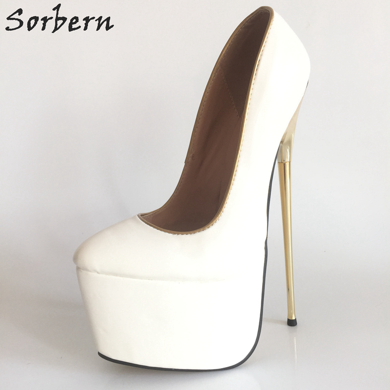 Sorbern 22Cm White High Heels Women Shoes Pumps Thick Platforms Metal Gold Thin Heel Slip-On Ladies Shoes Sexy White Heels Pumps sorbern women pumps 2018 pointed toe metal heels 10 7cm high heel ladies dress shoes slip on fashion party pumps shoes