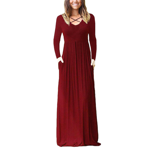 Autumn Winter Women Long Dress 2018 Gothic Solid Pockets Long Sleeve Maxi Dresses Vintage Cross Midi Dress Women Clothes 2