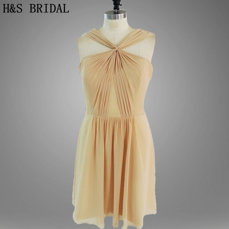 Real Model halter Pleated short prom   dress   Champagne color above knee   bridesmaid     dress