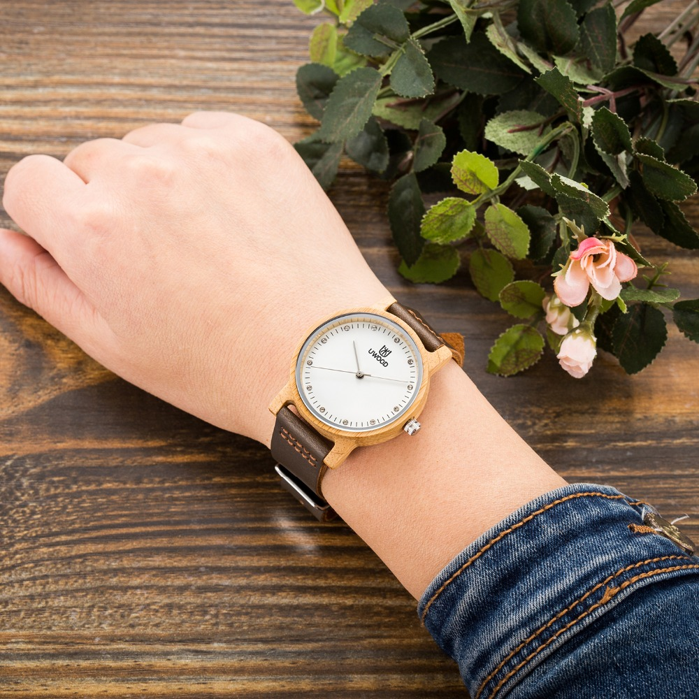 2017 Women's Wood Watch Natural Wooden Bamboo Dial Sandalwood Case Genuine Leather Band Casual Watches Creative Gifts For women