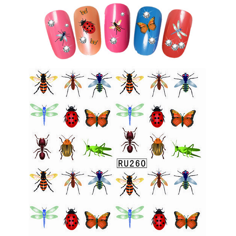 UPRETTEGO NAIL ART BEAUTY WATER DECAL SLIDER NAIL STICKER CARTOON CUTE INSECT LADYBUG BEE SNAIL GRASS HOPPER RU260-265 3 packs lot cartoon marine mermaid conch sea star nail tattoos sticker water decal nail art hot307 309