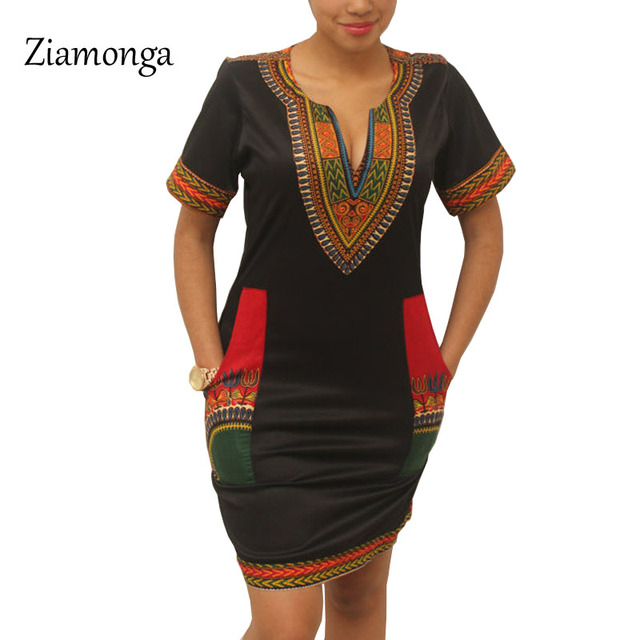 a9c5e6edf5 Ziamaga Dashiki vestido 2017 verano Sexy africano estampado camisa Vestidos  Mujer Vintage Mini Hippie talla grande