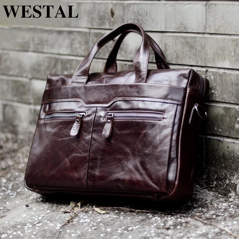 WESTAL Men s Bag Genuine Leather Crossbody Bags Male Messenger Bag Men Shoulder Bags 14 Laptop