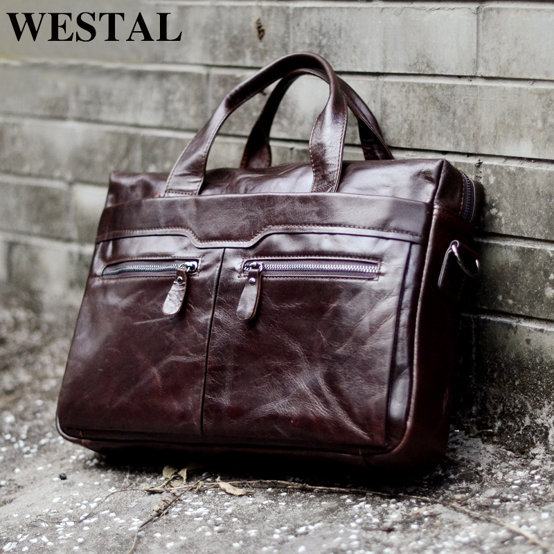 8e2e3cbc7297 WESTAL Мужская сумка из натуральной кожи сумки через плечо мужские сумки  через плечо 14 ''портфели для ноутбуков Мужская большая женская сумка