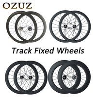 OZUZ 700c 3K Track Bike Wheelset 38 50 88 mm Cycling Carbon Wheels Clincher Tubular Matte 17T Cog Fixed Gear Single Speed Wheels