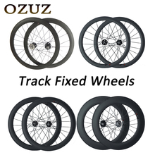 OZUZ 700c 3K Track Bike Wheelset 88mm Cycling Carbon Wheels Clincher Tubular Matte 17T Cog Fixed Gear Single Speed Wheels 1pair