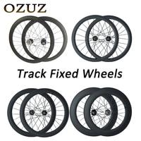 OZUZ 700c 3K Track Bike Wheelset 38 50 88 mm Cycling Carbon Wheels Clincher Tubular Matte 17T Cog Fixed Gear Single Speed Wheels
