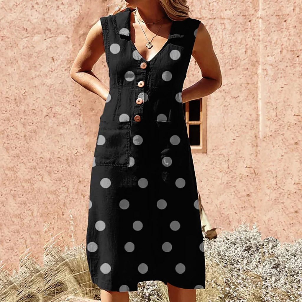 ALI shop ...  ... 33018870831 ... 5 ... Women's Elegant Polka-Dot Boho Mid-Calf Dress Turn-down V-neck Dress Button Pocket Summer Dress 2019 Dress #0516 ...