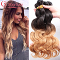 Бразильский Ombre Наращивание Волос Цветные 1B 27 Блондинка Ломбер Объемная Волна Два Тона Девственница Человеческие Волосы Соткать 3 Пучки