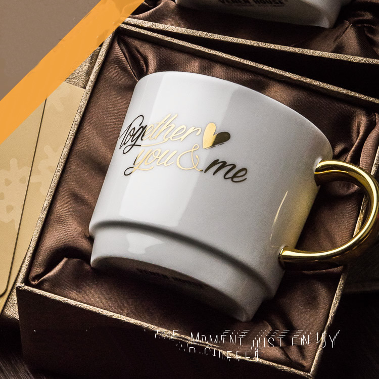 Royal classic love ceramic cup personalized mug 420ml gold for High end coffee mugs