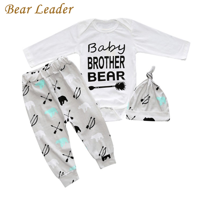 Bear Leader New 3 Style Baby  Clothing Sets Letter Prints Rompers+Hat+Pants 3pcs For Baby Boys Spring Newborn Clothing Suits