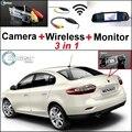 3 in1 Especial Cámara + Receptor Inalámbrico + Monitor Del Espejo DIY Sistema de Aparcamiento Para Renault Fluence 2009 ~ 2014
