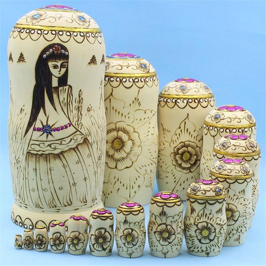 Top qualité 15 couches de tilleul sec poupées russes artisanat ethnique éducation jouets en bois matriochka poupées nidification L30 - 4