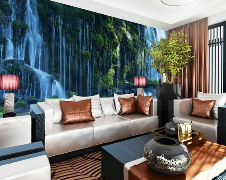 Landscape waterfall photo mural wallpaper 3D large wallpapers for living  room papel de parede para salaCompare Prices on 3d Waterfall Wallpaper for Living Room  Online  . Living Room Waterfall. Home Design Ideas