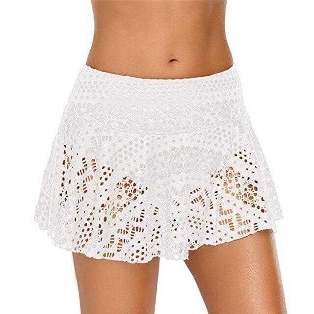 Summer Skirt Women Lace Crochet Floral Skirted Solid Bottom Swimsuit Short Skort Beach Swim Skirt Womens 2019 New 8