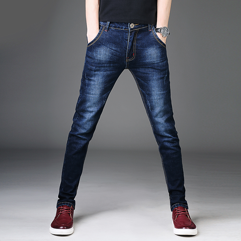 2019 Autumn Winter Men Jeans Pants Regular Fit Brand Clothing Quality Stretch Jean Jeans Washed Scratched Denim Trousers Male