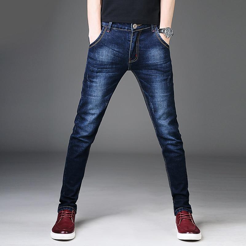 New 2018 Men   Jeans   Pants Korean Style Blue Mens Skinny   Jeans   Man Slim Fit Stretch Trousers Men's Denim Pants Casual   Jeans   Male
