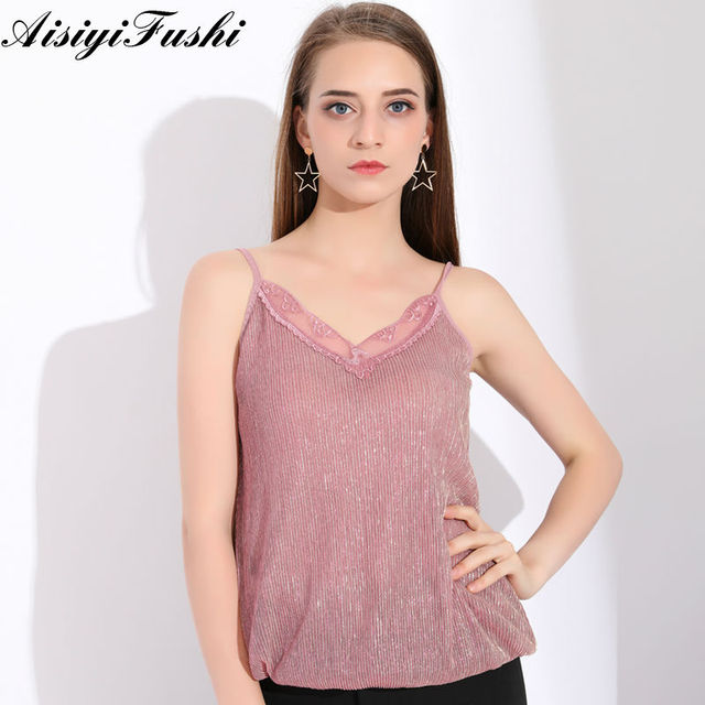 5f63c65183 Spaghetti Strap Tank Top Women Sleeveless Glitter Top Satin Plus Size  Clothing For Women Lace Tank Top Dentelle Crop Top Femme-in Camis from  Women's ...