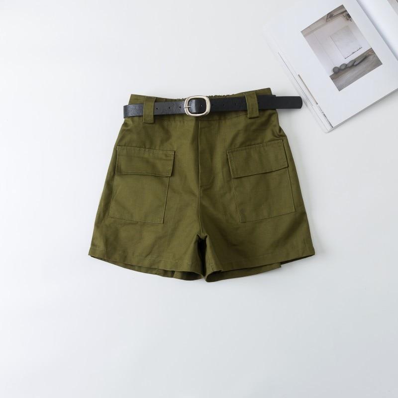 2019 Señora Ancha Alta Verano Bermudas Cortos De Ejército Cintura Pierna Coreanos Pantalones Caqui Oficina Verde 5q4AjL3Rc
