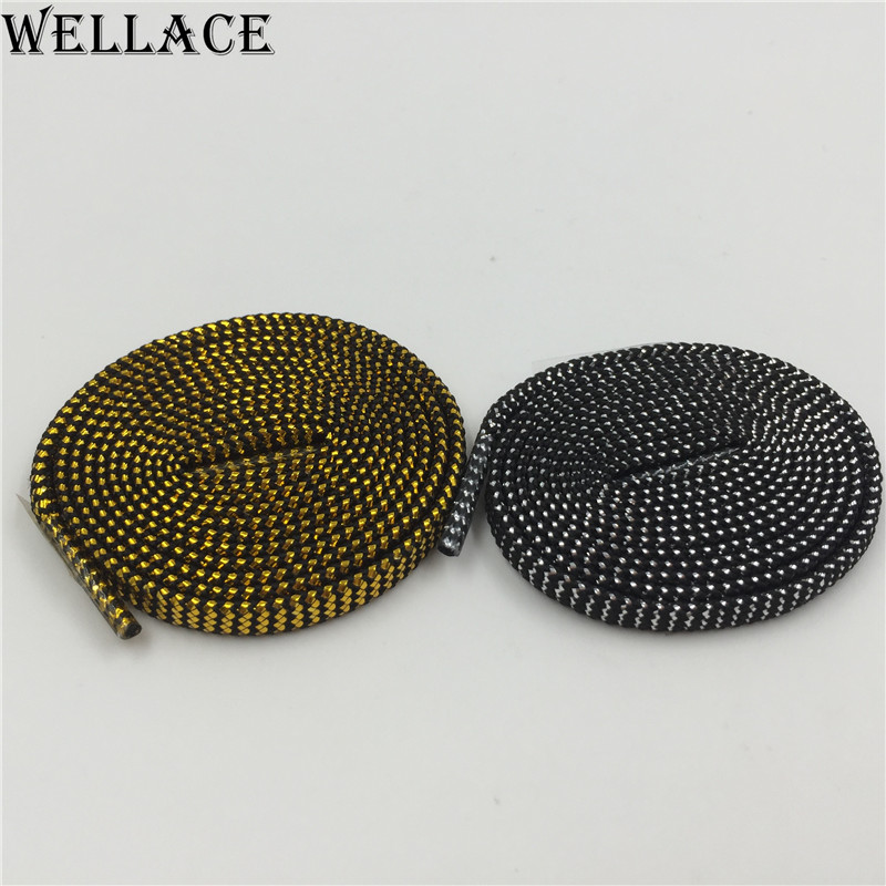 (30 pairs/Lot) Wellace Sparkle flat Shiny Gold Shoe Laces Glitter Shoelace for Sports Canvas Sneaker athletic coolest shoelaces